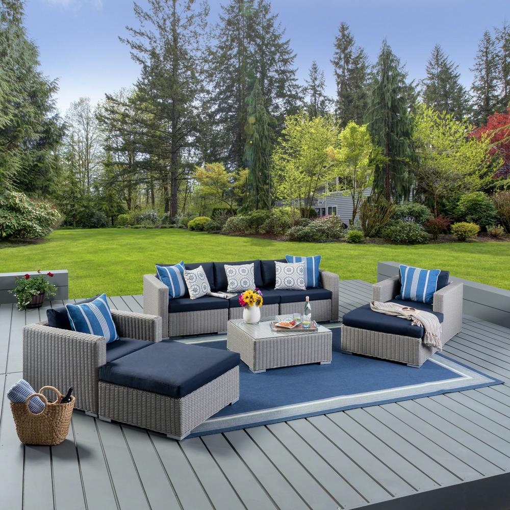 Noble House Chalk Wicker Outdoor Sectional Set Aluminum Frame Navy