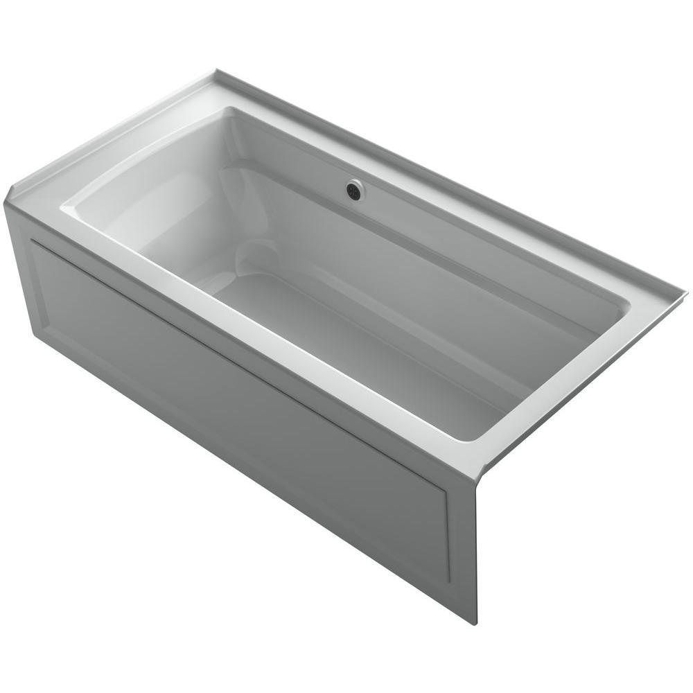 Archer 5.5 ft. Right Drain Soaking Tub in Ice Grey