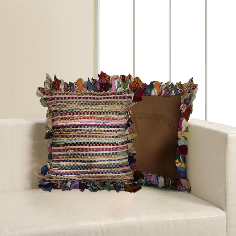 Rafi LR04013 Multi 26 in. x 26 in. Chindi Floor Pillow