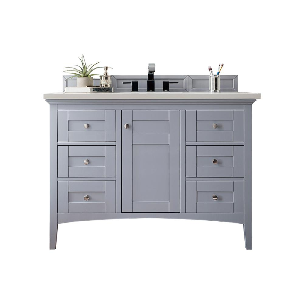 James Martin Vanities Palisades 48 in. W Single Vanity in Silver Gray with Soild Surface Vanity Top in Arctic Fall with White Basin