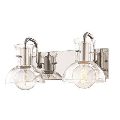 Riley 2-Light Polished Nickel Bath Light with Clear Glass