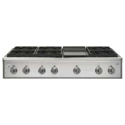 48 in. Professional Gas Cooktop with 6 Burners in Stainless Steel with Griddle