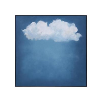 """57 in. x 57 in. """"Rain Cloud"""" Hand Painted Framed Canvas Wall Art"""
