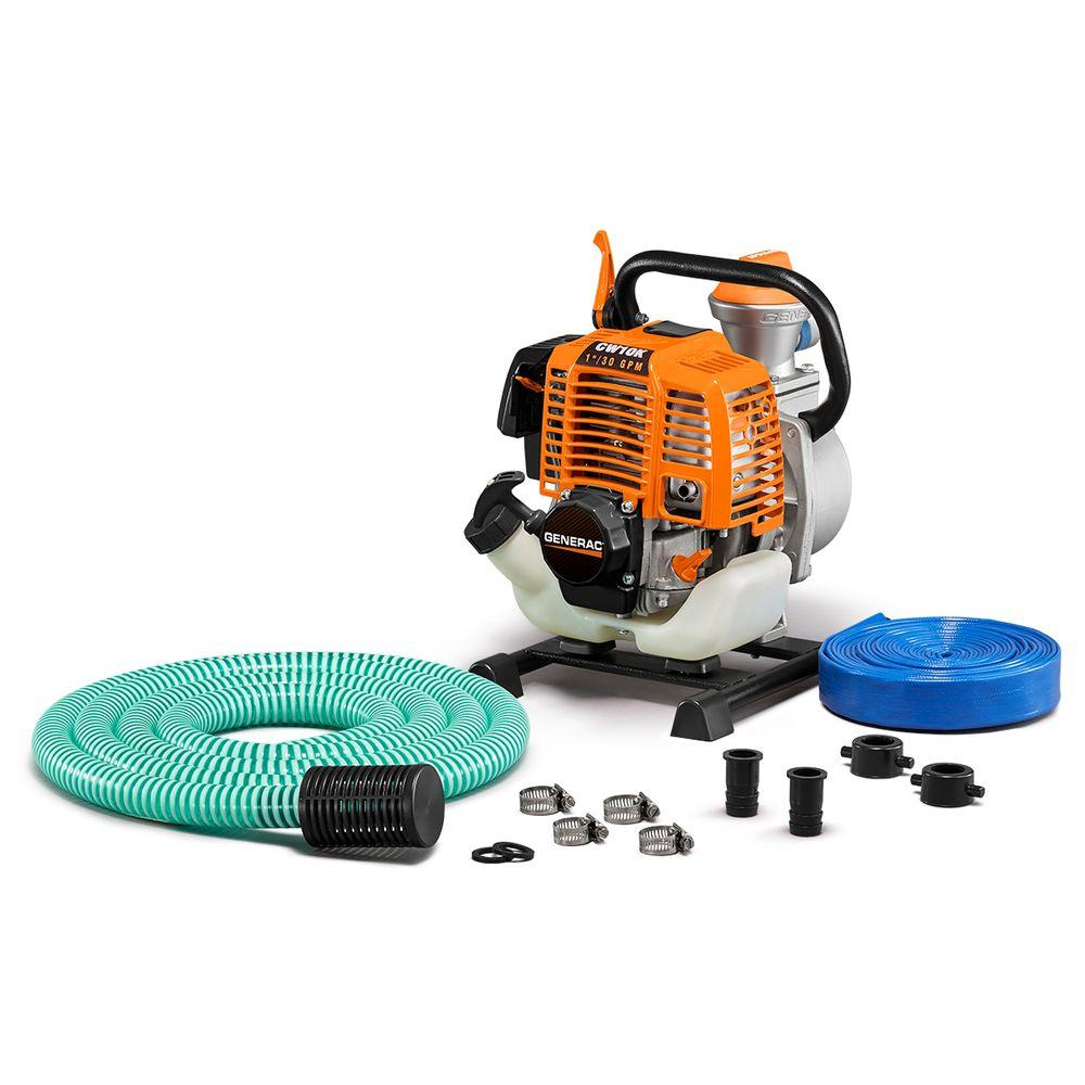 Generac 2HP 1 in  Gas Powered Clean Water Pump with Hose Kit