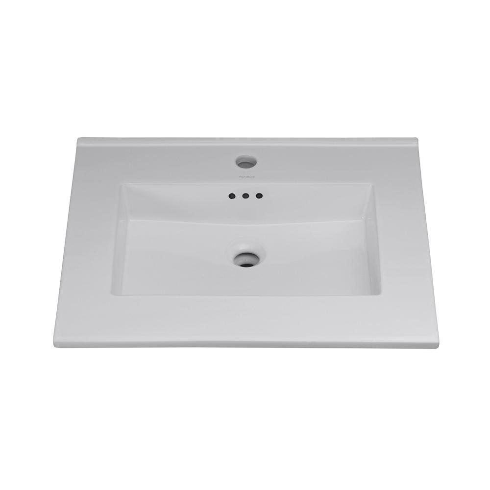 Ronbow Essentials 24 in. Ceramic Lav Top with Single Faucet Hole Integrated Sink in Cool Gray