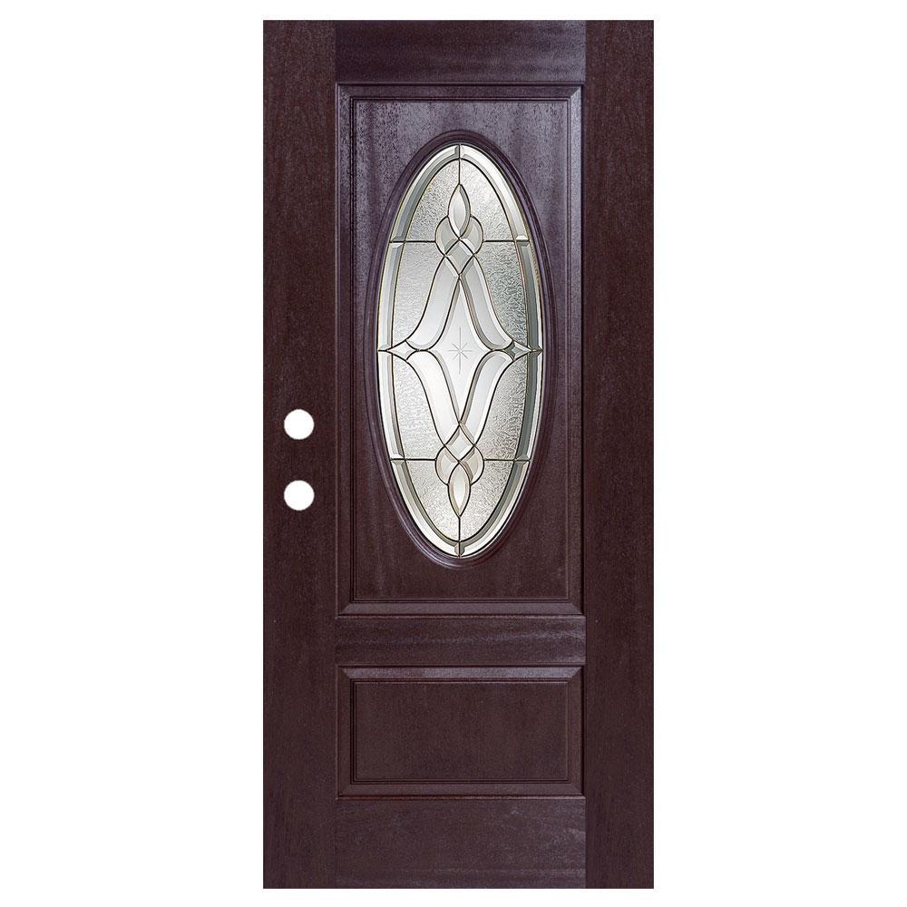 36 in. x 80 in. Dark Walnut Right-Hand Inswing Distinction Oval-Lite Prestige Stained Fiberglass Prehung Front Door
