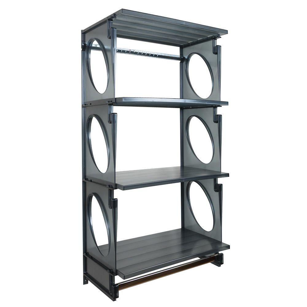 Urban Elite 48 in. H x 25.5 in. W x 14 in. D Closet Shelving Kit in Black