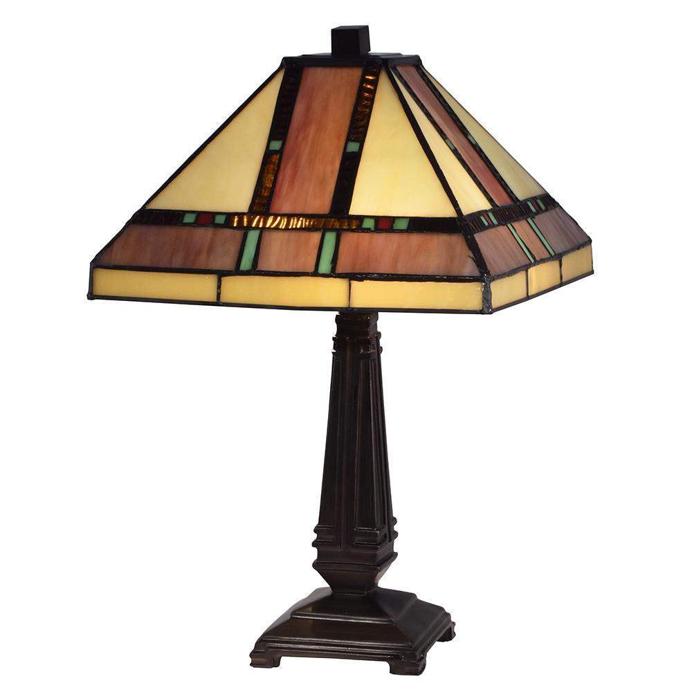 Dale Tiffany 17 in. Hyde Park Mission Mica Bronze Table Lamp