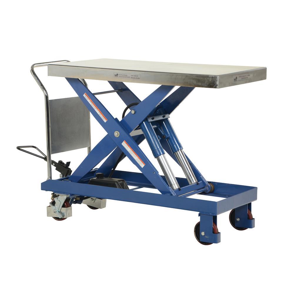 4,000 lbs. Capacity 47 in. x 24 in. Single Hydraulic Scissor Cart