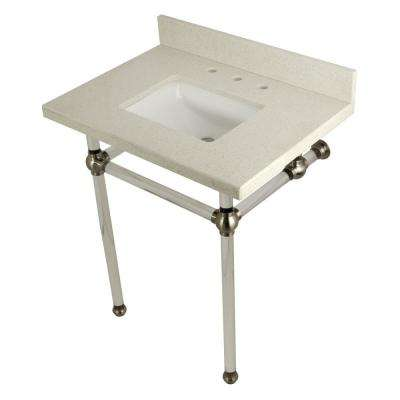 Square Washstand 30 in. Console Table in White Quartz with Acrylic Legs in Satin Nickel