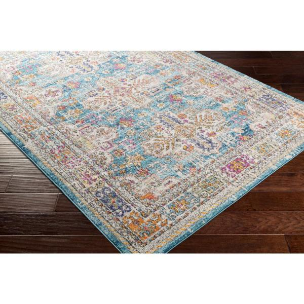 Artistic Weavers Claire Blue 2 Ft 7 In X 7 Ft 3 In Runner Medallion Area Rug S00161028513 The Home Depot