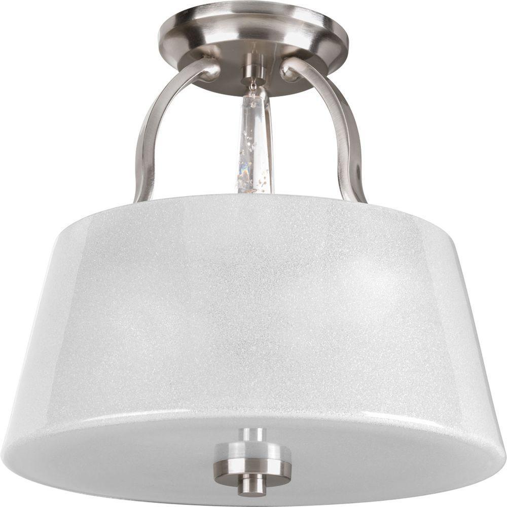 Dazzle Collection 3-Light Brushed Nickel Semi-Flushmount