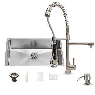 All-in-One Undermount Stainless Steel 32 in. Single Basin Kitchen Sink in Stainless Steel