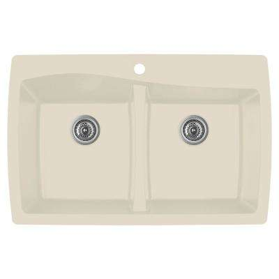 Drop-In Quartz Composite 34 in. 1-Hole 50/50 Double Bowl Kitchen Sink in Bisque