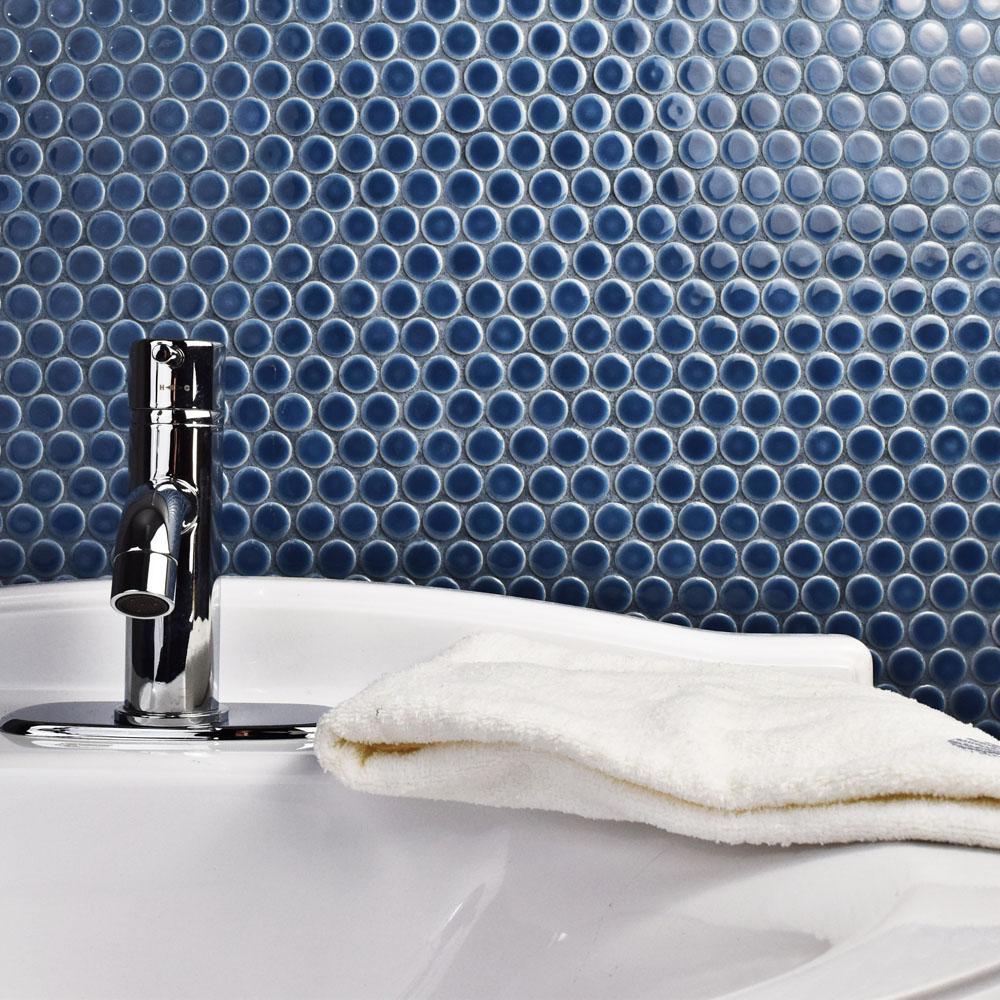 Hudson Penny Round Denim Blue 12 in. x 12-5/8 in. x 5 mm Porcelain Mosaic Tile