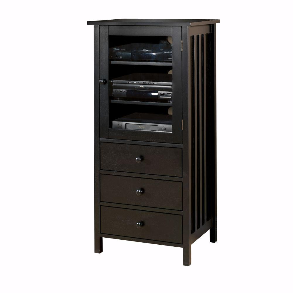 Home Decorators Collection Mission-Style Black 3-Drawer Media Cabinet