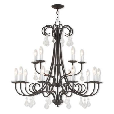 Daphne 15-Light English Bronze Foyer Chandelier