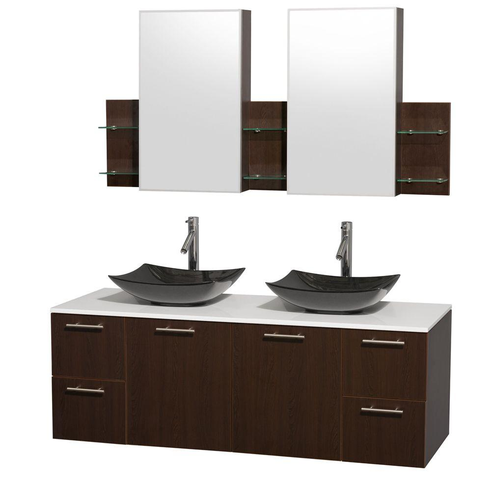 Wyndham Collection Amare 60 in. Double Vanity in Espresso with Solid-Surface Vanity Top in White, Granite Sinks and Medicine Cabinet