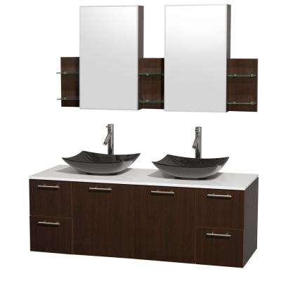 Amare 60 in. Double Vanity in Espresso with Solid-Surface Vanity Top in White, Granite Sinks and Medicine Cabinet