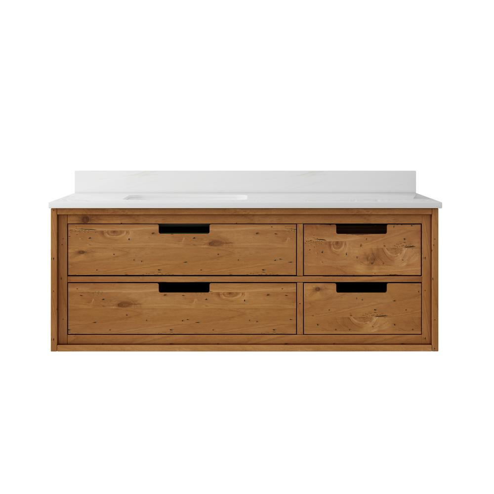 Wall Mounted Bathroom Vanity | Home Decorators Collection Vinespring 48 In Wx22 In D Single Wall Hung Bath Vanity In Wood Tone With Marble Vanity Top In White With White Sink