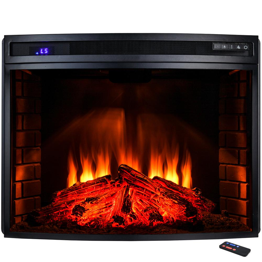 Add a traditional look to your fireplace with AKDY Freestanding Electric Fireplace Insert Heater in Black with Curved Tempered Glass and Remote Control.