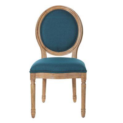 Trinity Oval Back Chair in Azure Fabric with Brushed Frame