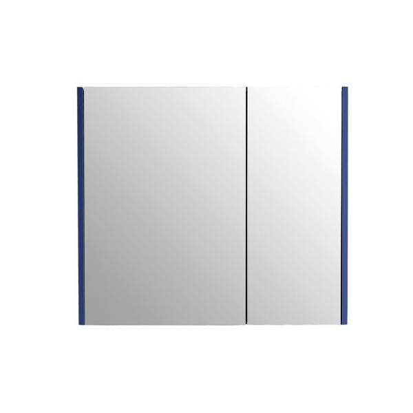33 in. x 30 in. Surface-Mount Medicine Cabinet in 2 Door Blue with 2 Shelves and Mirror