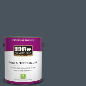 1 gal. #N480-7 Midnight Blue Eggshell Enamel Zero VOC Interior Paint and Primer in One