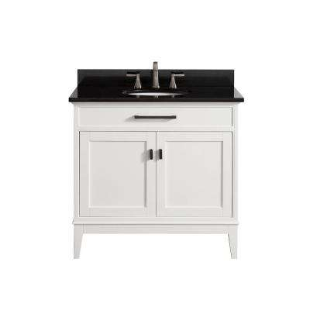 Madison 37 in. W x 22 in. D x 35 in. H Vanity in White with Granite Vanity Top in Black with White Basin