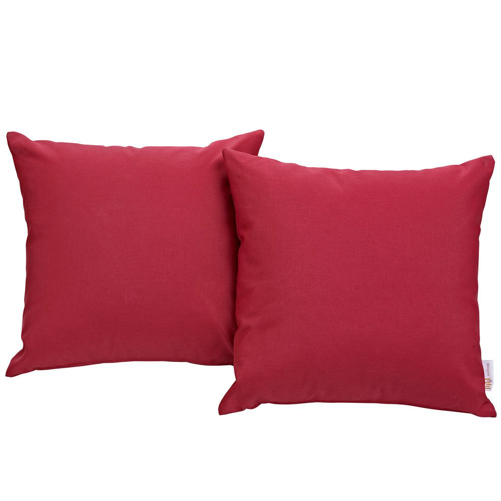 Convene Patio Square Outdoor Throw Pillow Set in Red (2-Piece)