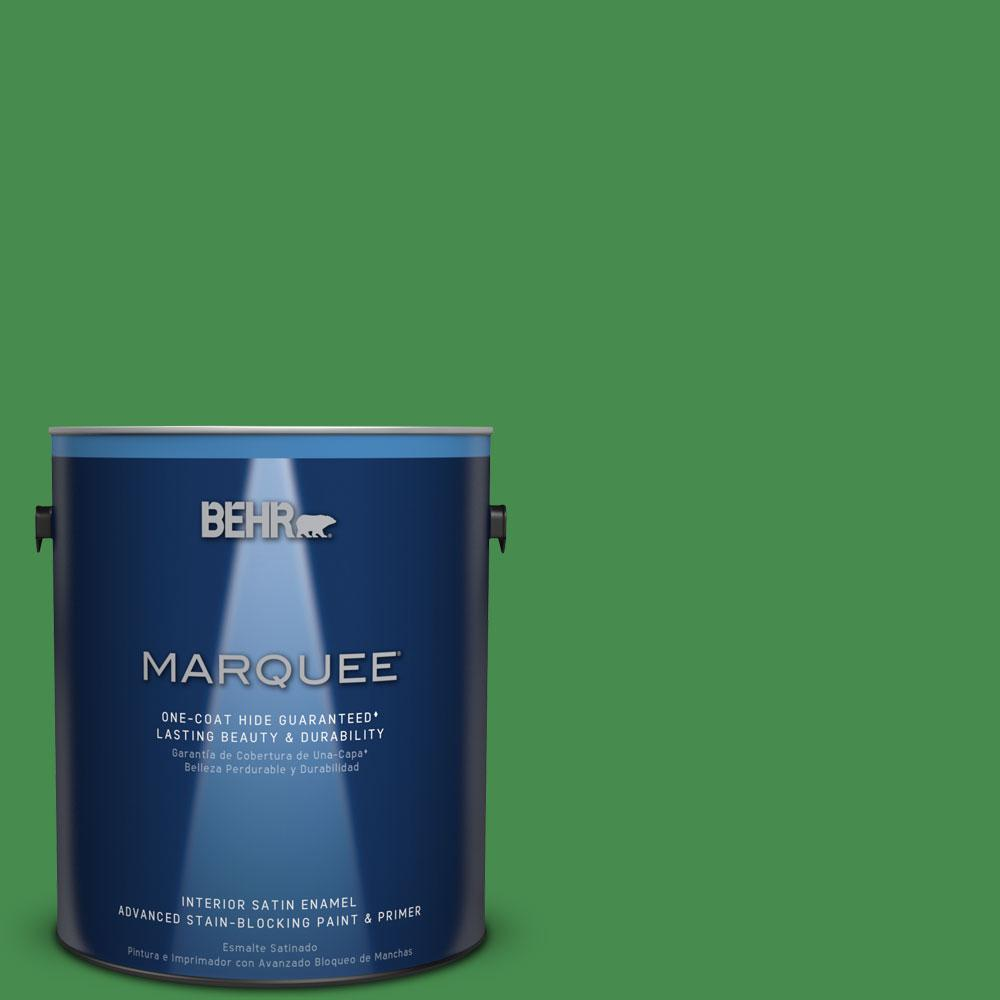 1 gal. #MQ4-48 Planet Green One-Coat Hide Satin Enamel Interior Paint
