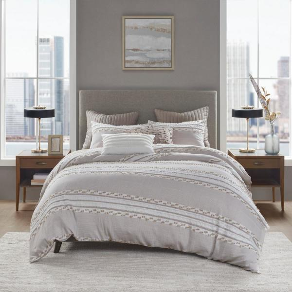 Ink Ivy Lennon 3 Piece Taupe King Cal King Organic Cotton Jacquard Duvet Cover Set Ii12 1084 The Home Depot