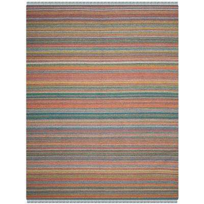 Kilim Blue/Orange 8 ft. x 10 ft. Area Rug