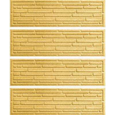 Yellow 8.5 in. x 30 in. Broken Brick Stair Tread Cover (Set of 4)