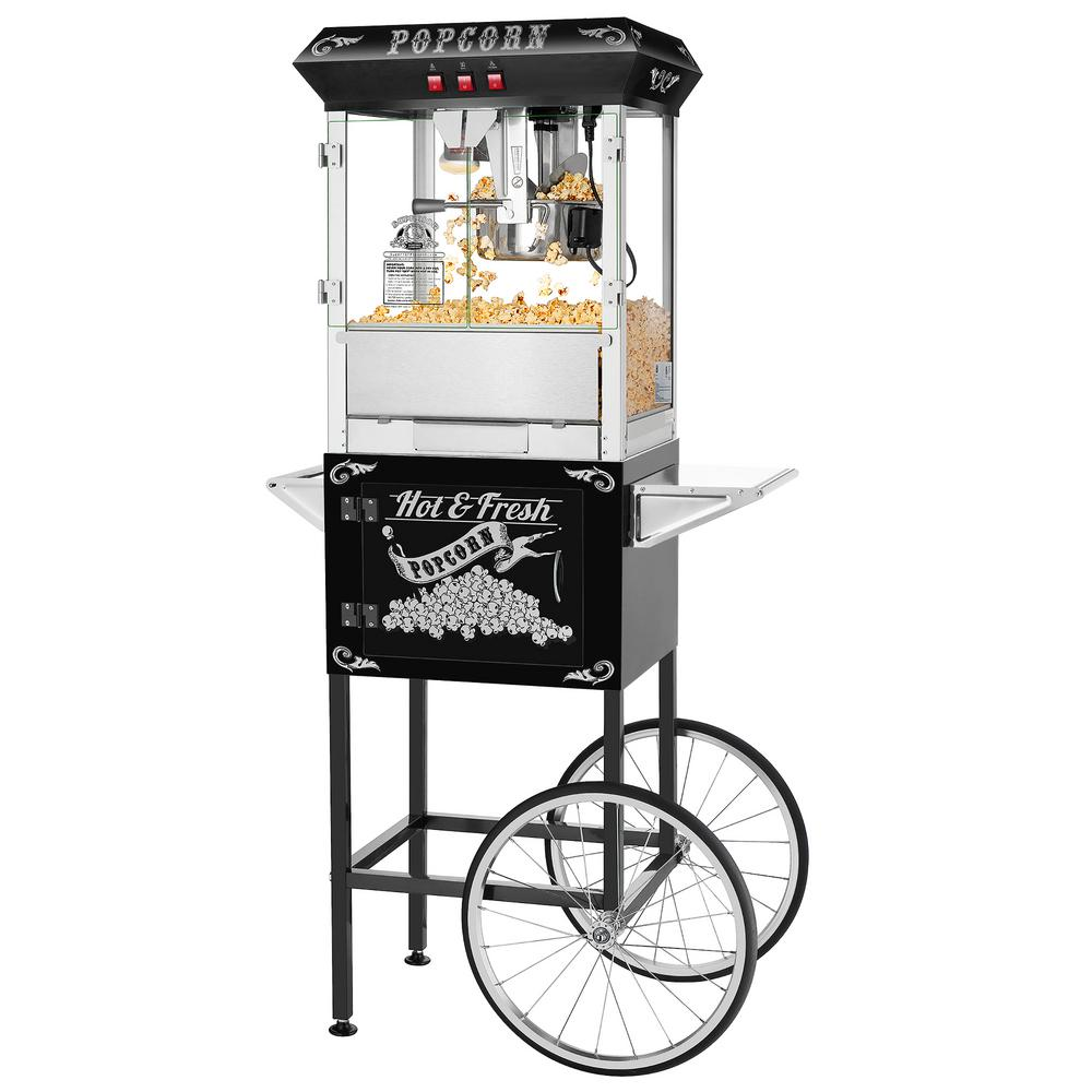 8 oz. Hot and Fresh Black Popcorn Machine with Cart