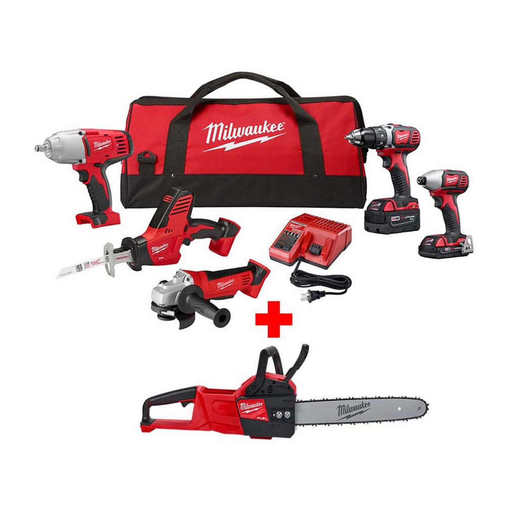 Milwaukee M18 18-Volt Lithium-Ion Cordless Combo Tool Kit (5-Tool) with M18 FUEL Chainsaw