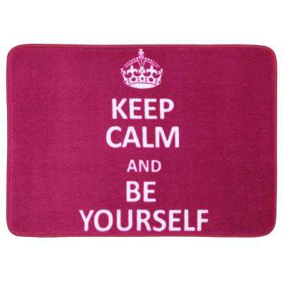Keep Calm and Be Yourself Pink 17 in. x 24 in. Bath Rug