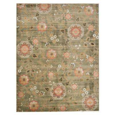 Floral Olive Green 5 ft. 3 in. x 7 ft. 3 in. Area Rug