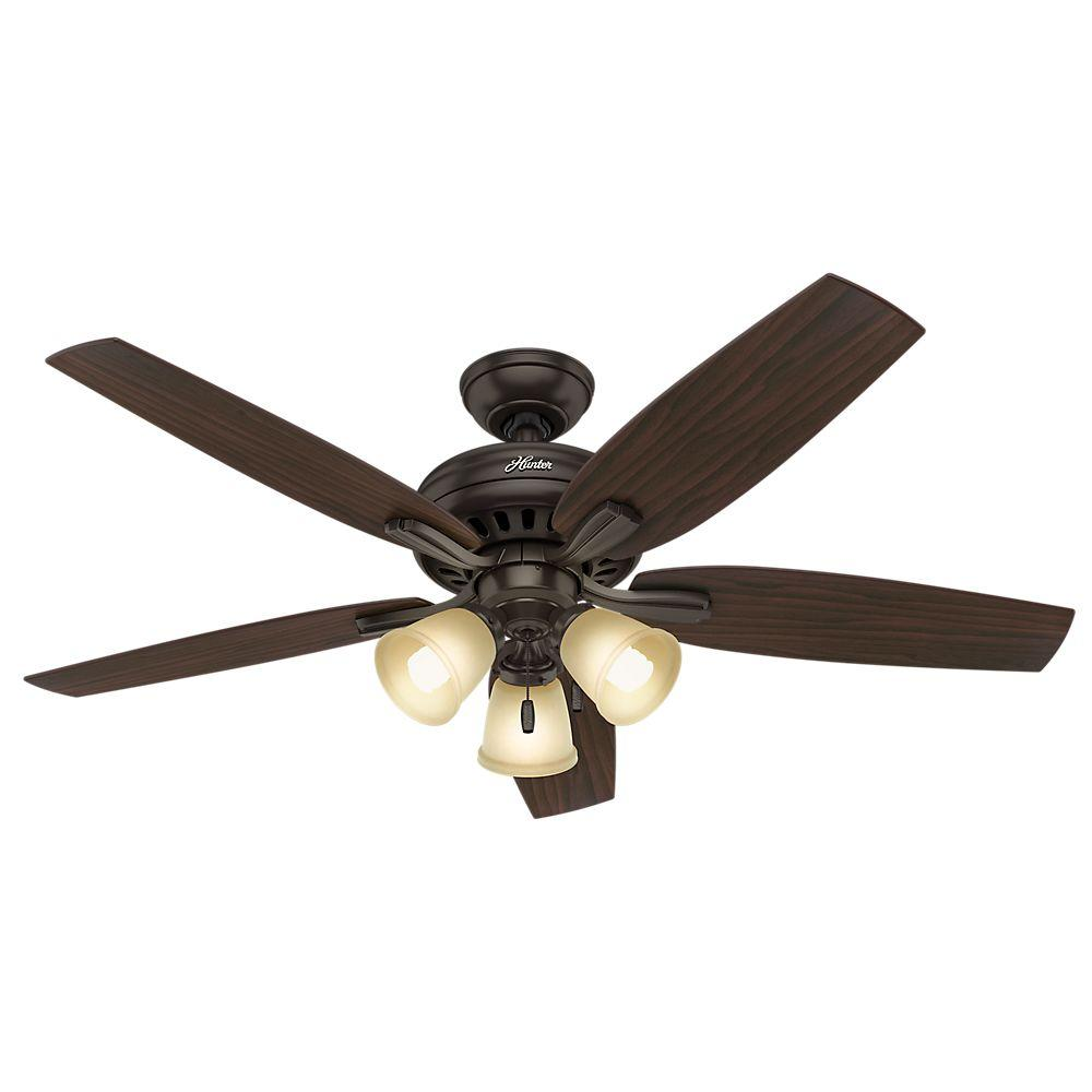 Hunter Newsome 52 In Indoor Premier Bronze Ceiling Fan With Three Light Kit 53317 The Home Depot