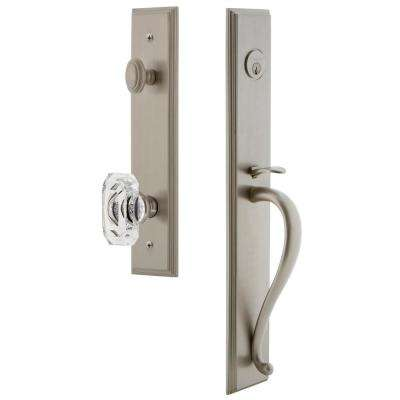 Carre Satin Nickel 1-Piece Door Handleset with S-Grip and Baguette Clear Crystal Knob