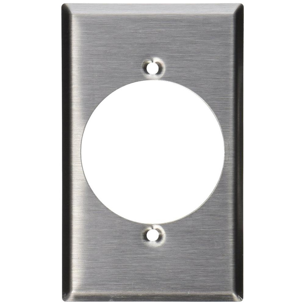 leviton 1gang standard size stainless steel power outlet wall plate with 215 in dia hole in stainless steel84028 the home depot