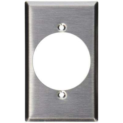 1-Gang Standard Size Stainless Steel Power Outlet Wall Plate with 2.15 in. Dia Hole in Stainless Steel