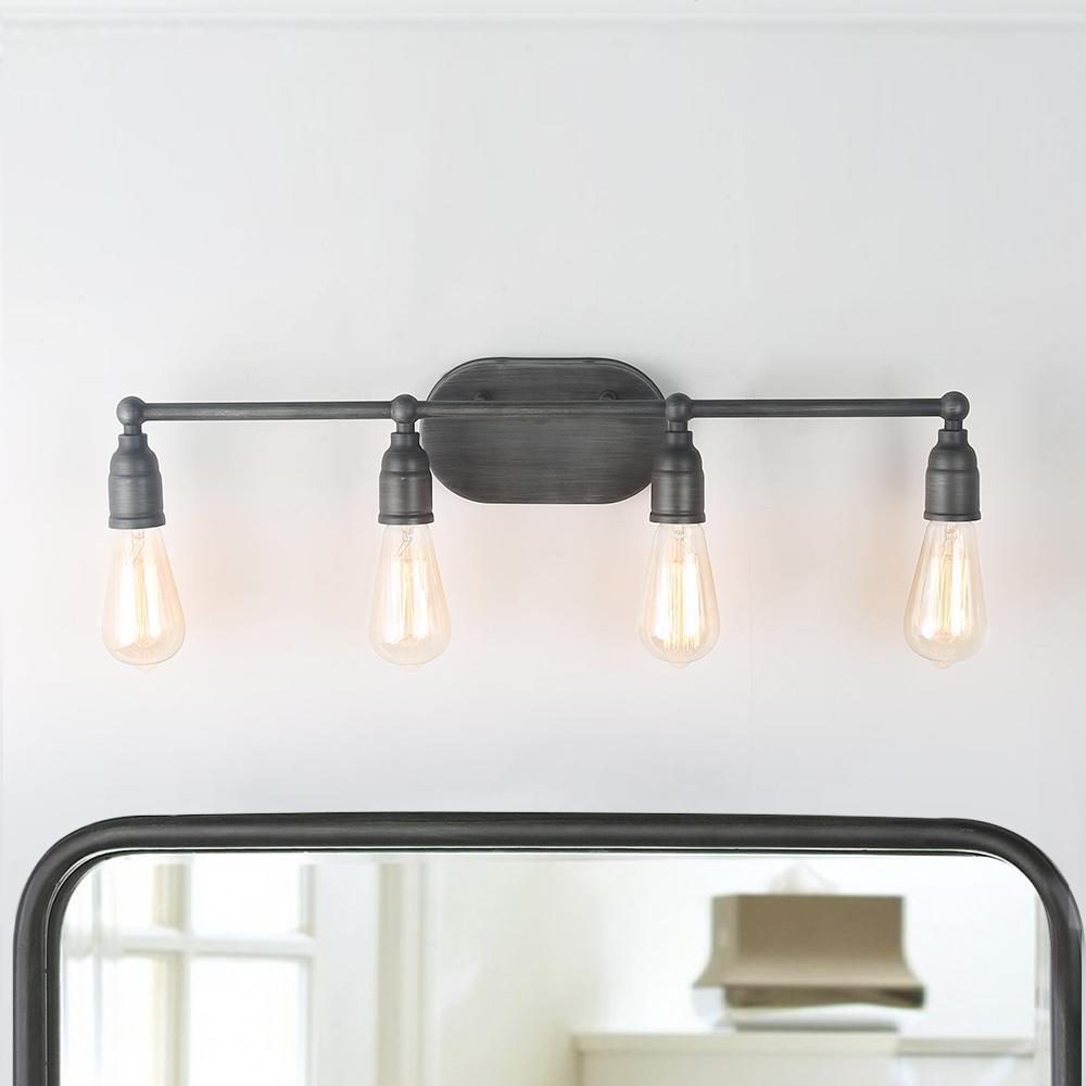 4-Light Gray Vanity Bathroom Armed Wall Sconces Bath Light