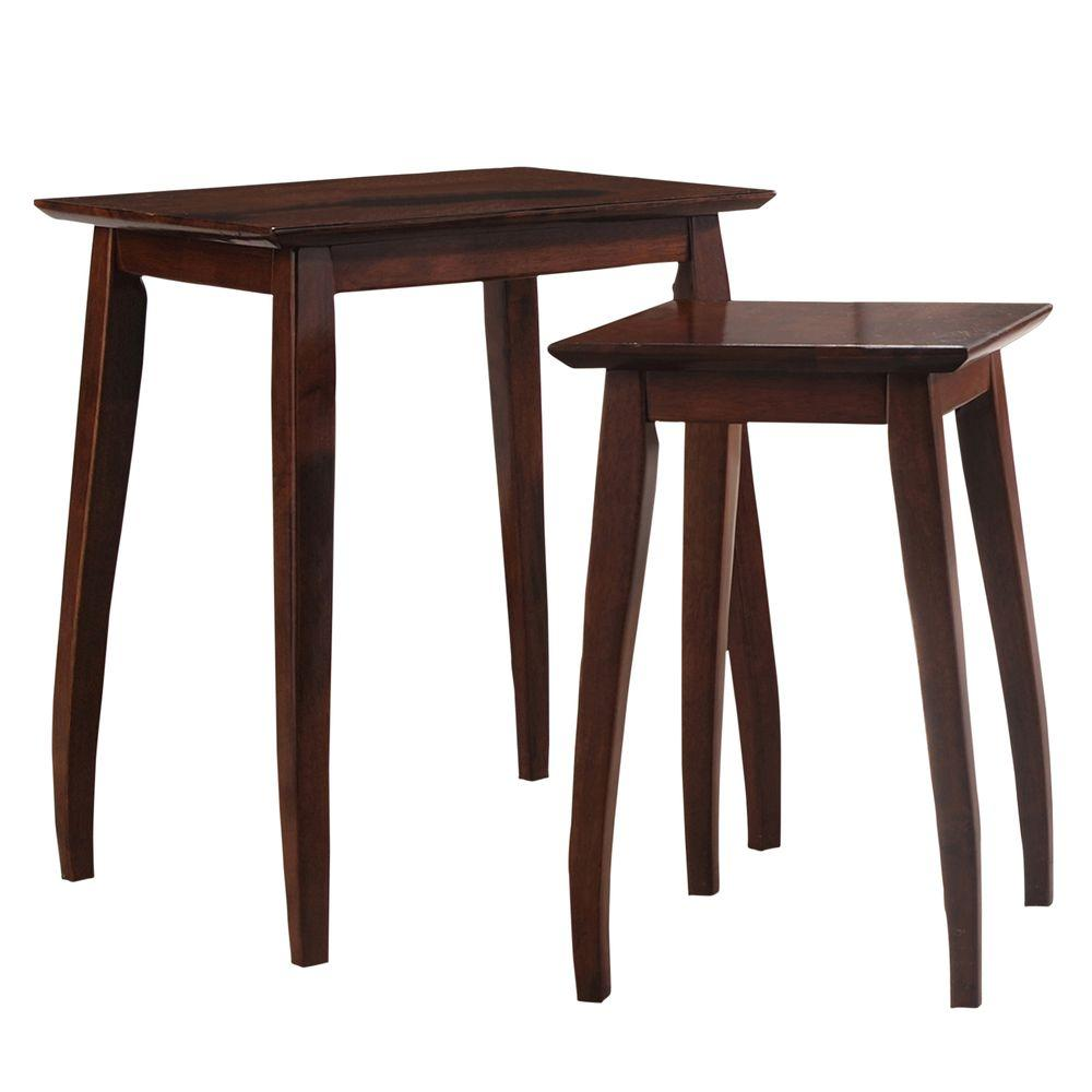 Worldwide Homefurnishings Solid Wood Nesting Table Set in Cappuccino (2-Piece)