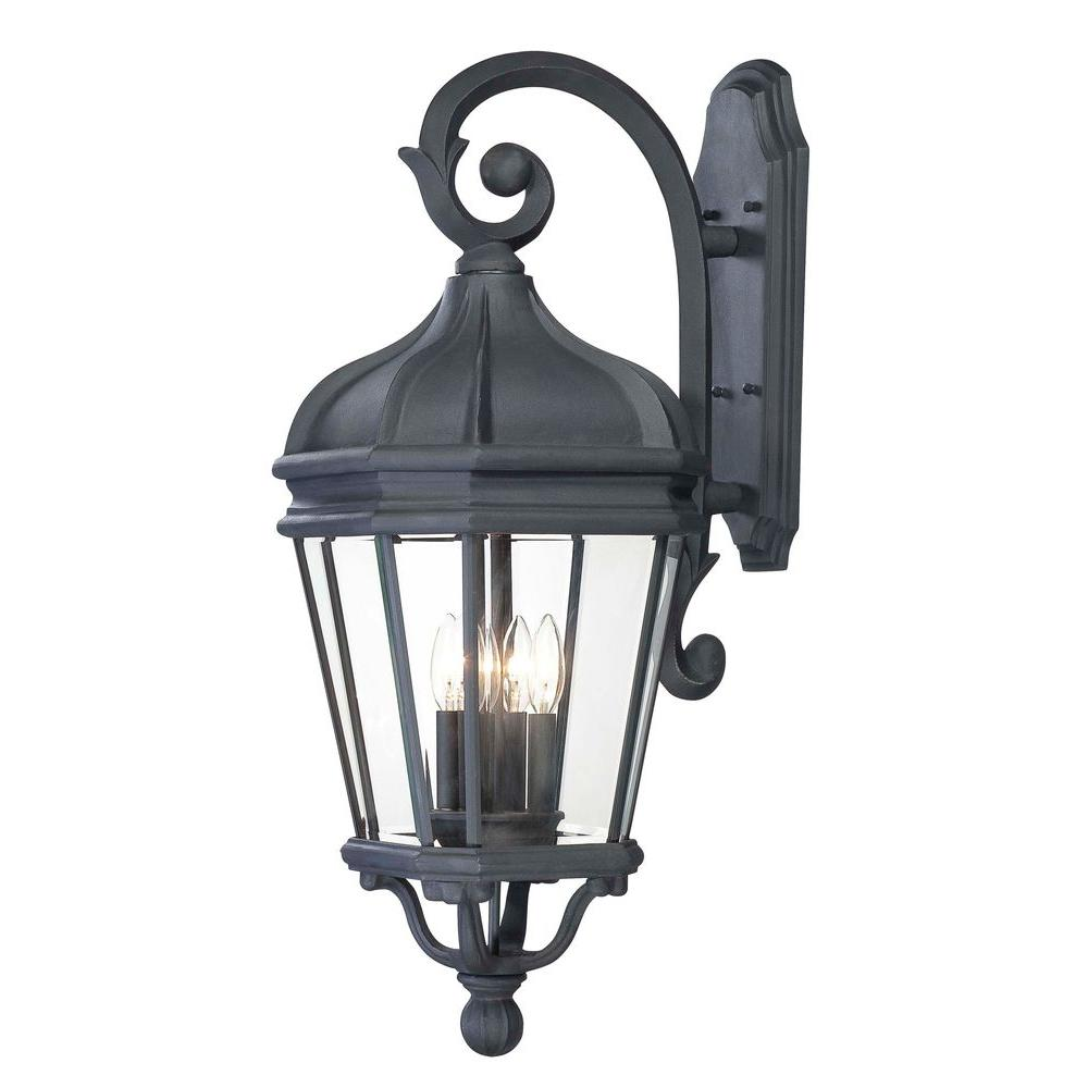 the great outdoors by Minka Lavery Harrison 4-Light Black Outdoor Wall Mount Lantern