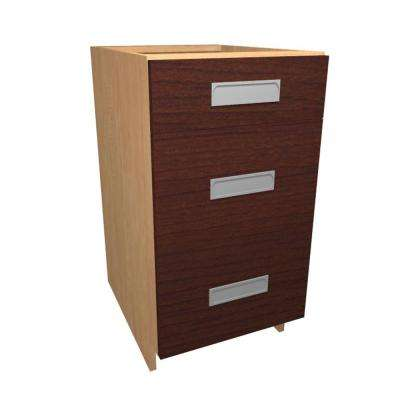Genoa Ready to Assemble 15 x 34.5 x 24 in. Base Drawer Cabinet with 3 Soft Close Drawer in Cherry