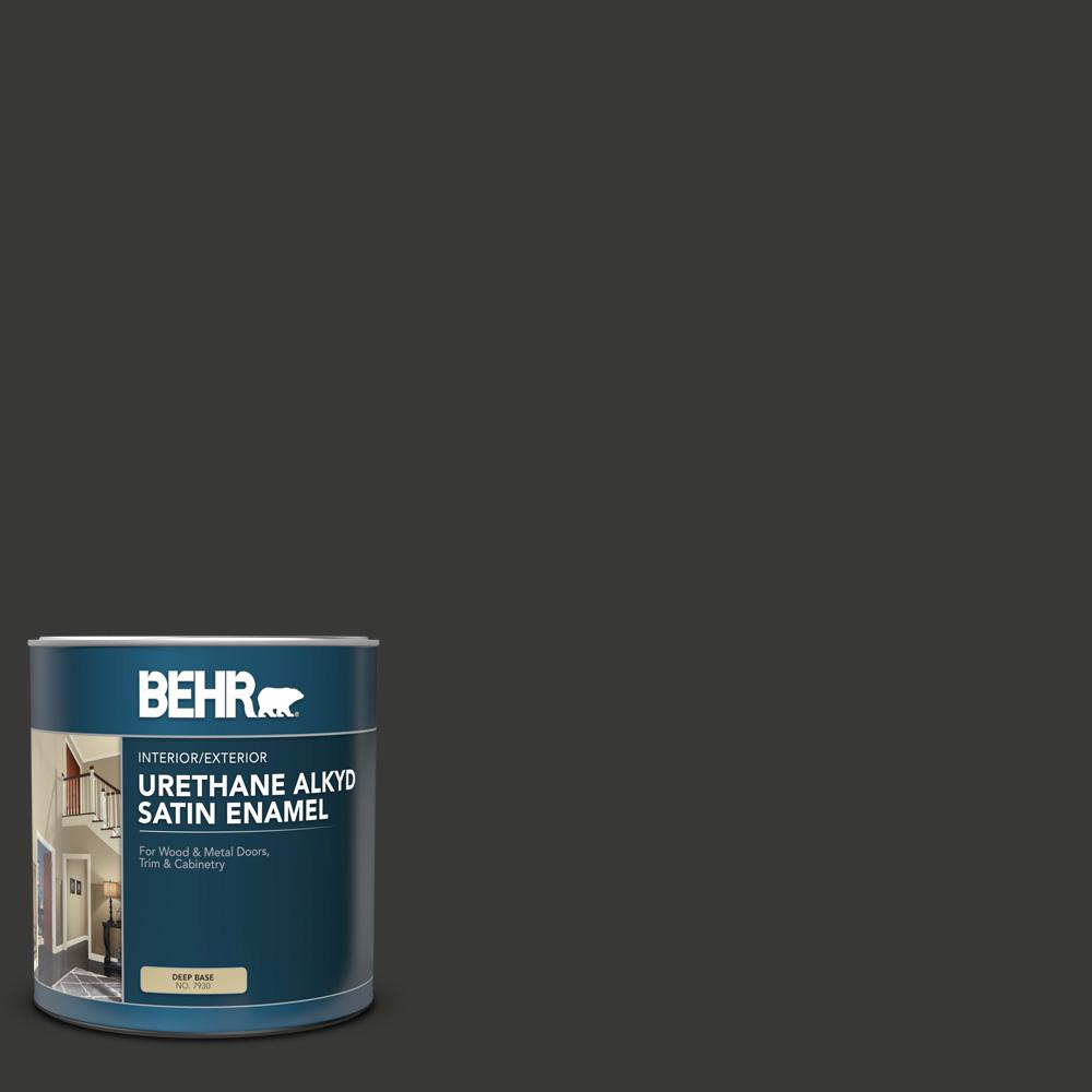 BEHR 1 qt. Home Decorators Collection #HDC-MD-04 Totally Black Satin Enamel Urethane Alkyd Interior/Exterior Paint