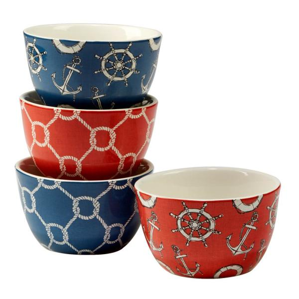 Certified International Coastal Life 4-Piece Multi-Colored 5.5 in. x 3 in.