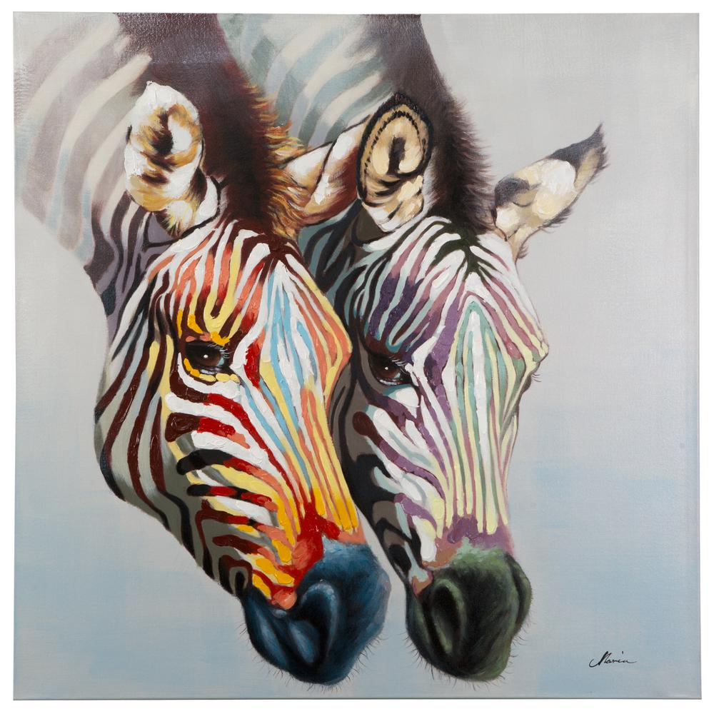 """Yosemite Home Decor 47.25 in. x 47.25 in. """"Zebras in Color"""" Hand Painted Contemporary Artwork"""