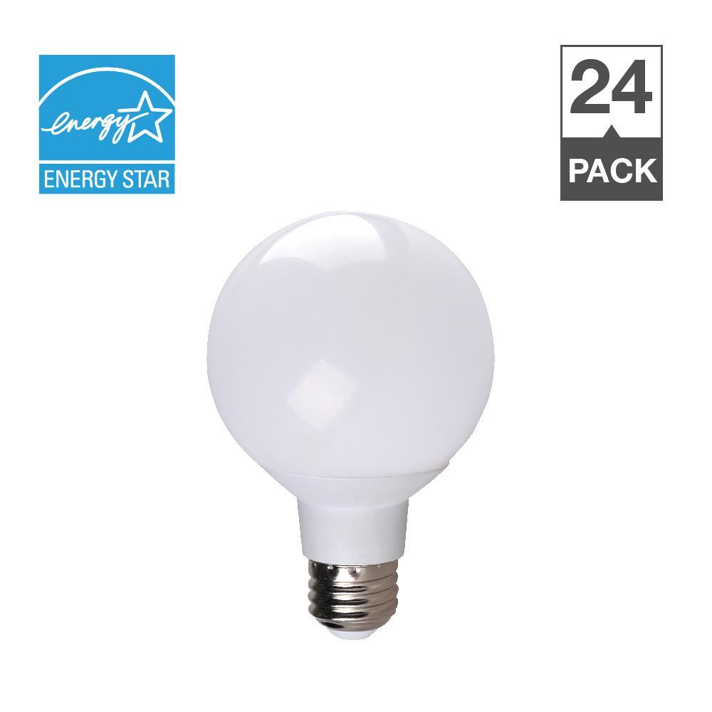 40W Equivalent Soft White 2700K G25 Dimmable 25,000-Hour LED Light Bulb (24-Pack)